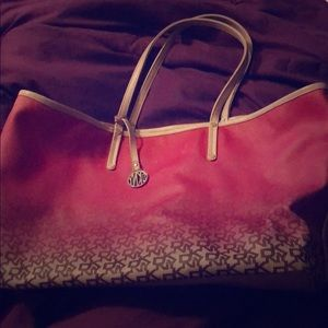 Hot pink and orange DKNY shoulder tote